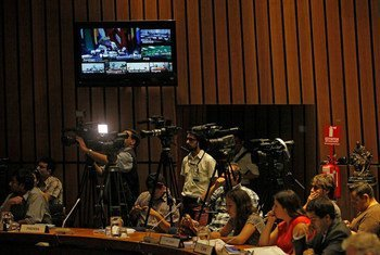 The UN Economic Commission for Latin America and the Caribbean (ECLAC) holds press conference at its headquarters in Santiago, Chile, to launch the Economic Survey of Latin America and the Caribbean 2015.