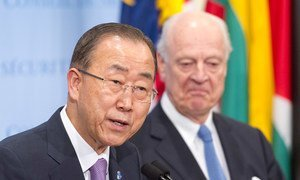 Secretary-General Ban Ki-moon (left) and Special Envoy Staffan de Mistura brief journalists following a closed-door Security Council meeting on the situation in Syria.