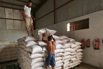 These food items are ready for distribution at the warehouses of a World Food Programme (WFP) local partner SHS in Aden, Yemen, after being moved from ships that began reaching the port on July 21.