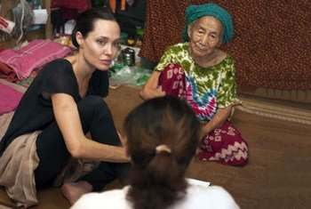 UNHCR Special Envoy Angelina Jolie Pitt (left) in Myitkyina township, Kachin State, Myanmar, meeting with some of the 100,000 displaced people who currently live there.