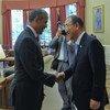 El presidente de Estados Unidos, Barack Obama, saluda al Secretario General de la ONU a su llegada a la Casa Blanca  Foto:ONU/Mark Garten