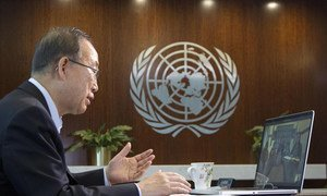 Secretary-General Ban Ki-moon holds video chat with children in Gaza.