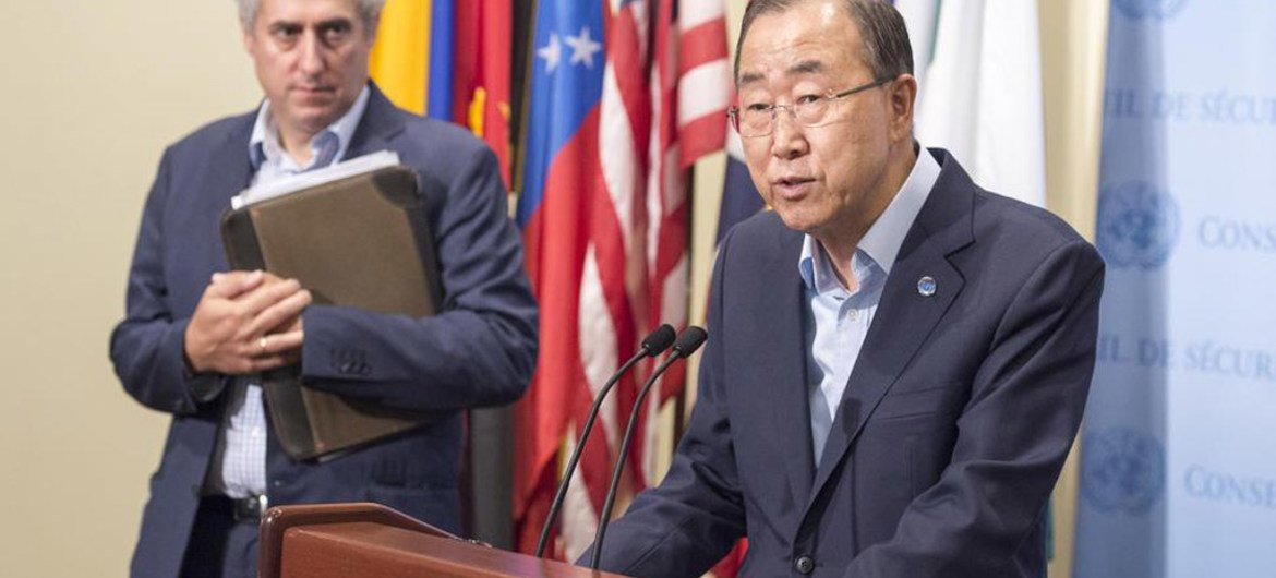 Secretary-General Ban Ki-moon briefs the media on allegations of sexual abuse by UN peacekeepers in the Central African Republic (CAR).