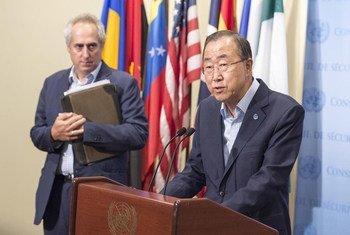 El Secretario General de la ONU, Ban Ki-moon anuncia la dimisión de su Representante Especial en la República Centroafricana Foto;ONU/Eskinder Debebe
