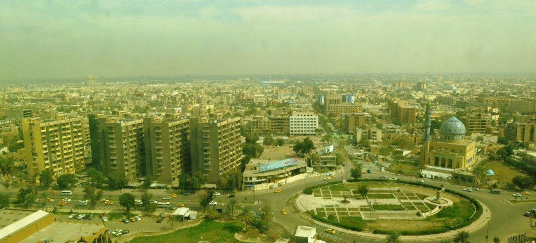 Vista aérea da cidade de Bagdá, Iraque.