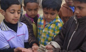 Pakistani children hold the remains of a shell that fell during clashes with India in Kashmir. Photo: <a href=http://bit.ly/1E3CcSY>Sumaira Jajja/IRIN</a> (file)
