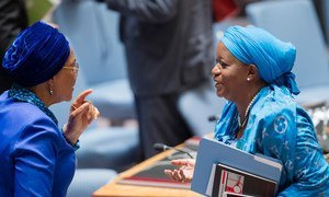 Special Representative on Sexual Violence in Conflict Zainab Hawa Bangura (right),  speaking with Security Council President for August, Joy Ogwu, at the Council's special briefing on security sector reform.