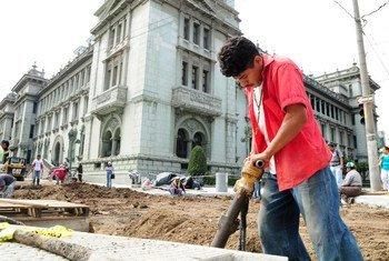 Public works project outside  the National Palace, Guatemala City, Guatemala.