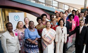 President of the Inter-Parliamentary Union (IPU) Saber Chowdhury (right) with women speakers of parliament, who attended the Fourth World Conference of Speakers of Parliament at UN Headquarters.