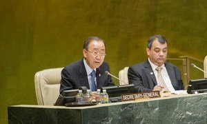 Secretary-General Ban Ki-moon (left) addresses the opening session of the Fourth World Conference of Speakers of Parliament.