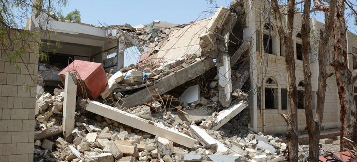 This building in Yemen was destroyed by airstrikes.
