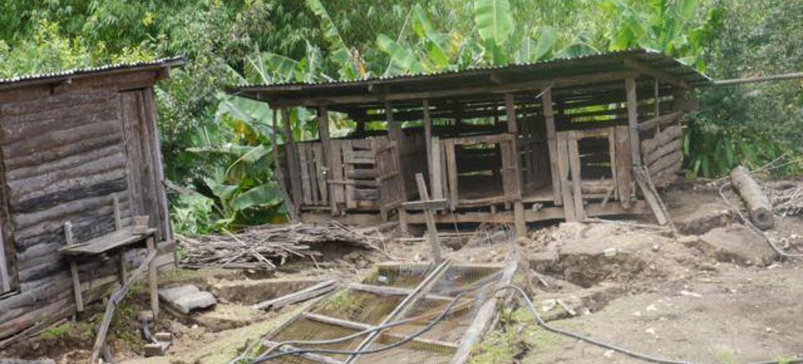 A destroyed farm building in Hakha, Chin State, Myanmar.