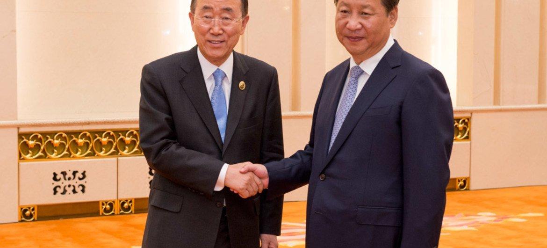 潘基文秘书长与中国国家主席习近平举行会晤资料照片。联合国图片/Eskinder Debebe