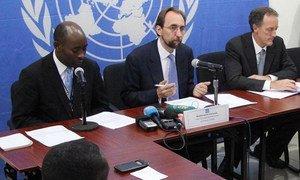 UN High Commissioner for Human Rights Zeid Ra'ad Al Hussein (centre) addresses press conference in Bangui, Central African Republic (CAR).