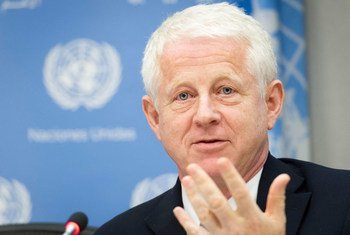 Filmmaker and founder of Project Everyone, Richard Curtis, briefs journalists on the Global Goals Campaign at UN Headquarters in New York.