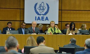 IAEA Director General Yukiya Amano delivers introductory statement to the 1413th Board of Governors Meeting. Vienna, Austria, 7 September 2015.