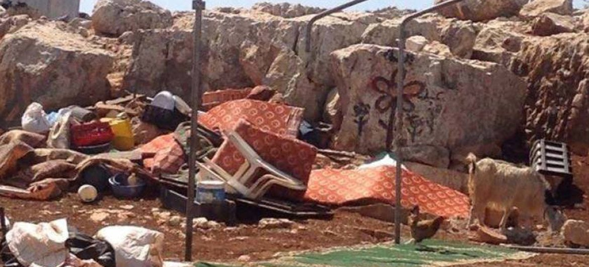 One of 7 structures demolished on 3 September 2015 by Israeli authorities in the East Tayba Bedouin community of the central West Bank, displacing 9 Palestinians, including 5 children, due to lack of Israeli-issued building permits.