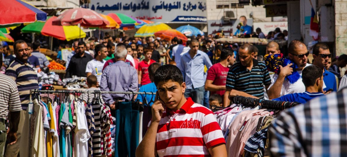 People in a market in the West Bank city of Ramallah.