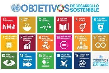 Gráfico de los 17 Objetivos de Desarrollo Sostenible, aprobados en 2015 por todos los Estados miembros de la ONU.