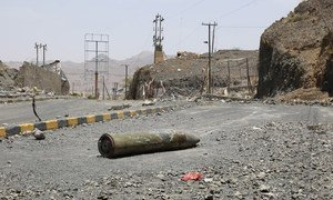 A missile remains on a road in Sana'a, capital of Yemen.