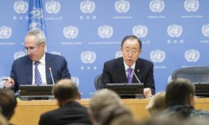 Secretary-General Ban Ki-moon addresses a press conference on the occasion of the start of the seventieth session of the General Assembly. At left is spokesperson Stéphane Dujarric.