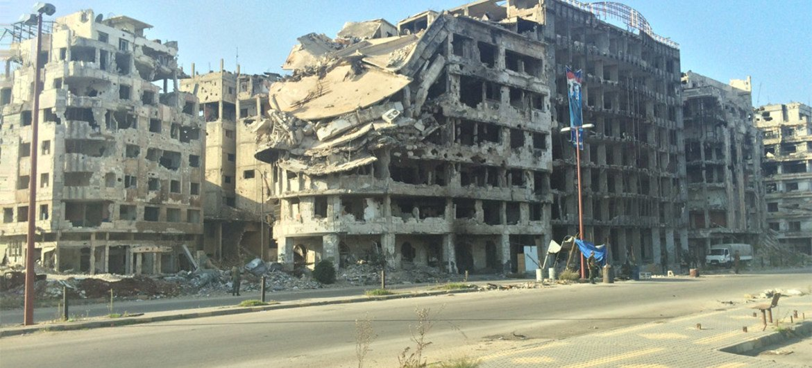 Heavily damaged buildings in Homs, Syria.
