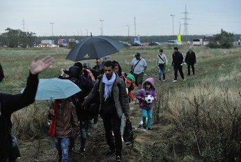 Des réfugiés syriens, pour la plupart, traversent un terrain vague entre la Hongrie et l'Autriche. Photo : HCR / Mark Henley