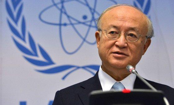 Le Directeur général de l'AIEA, Yukiya Amano, lors d'une conférence de presse (photo d'archives).