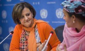 La Secrétaire générale adjointe à l'information, Cristina Gallach (à gauche) et la Conseillère spéciale sur la planification du développement post-2015, Amina J. Mohammed, lors d'une conférence de presse. Photo ONU/Amanda Voisard