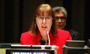 La chef du Mécanisme d'enquête conjoint de l'Organisation pour l'interdiction des armes chimiques (OIAC) et de l'ONU, Virginia Gamba. Photo ONU/Paulo Filgueiras