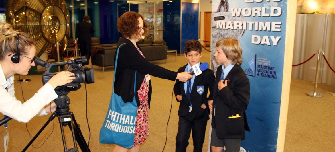 """School children from local and international schools based in London attended an informative session at the International Maritime Organization (IMO) Headquarters as part of the celebrations of World Maritime Day, under the theme """"Maritime education and training."""""""