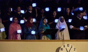 Education advocate Malala Yousafzai (third left) addresses the General Assembly during the opening day of the UN Sustainable Development Summit.