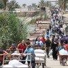 نازحون داخليون عراقيون أثناء فرارهم من العنف الدائر في الرمادي إلى بغداد العام الماضي. المصدر: اليونيسف / واثق خزاعي