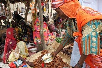 Mwanamke akinunua tende kwenye soko moja lililoko mji wa Bol, nje kidogo ya mji mkuu wa Chad, N'djamena.