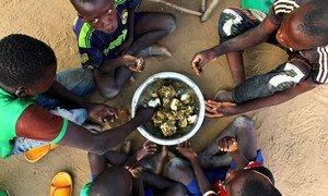 Une famille partageant un repas au Burkina Faso.  Photo : OCHA / Ivo Brandau