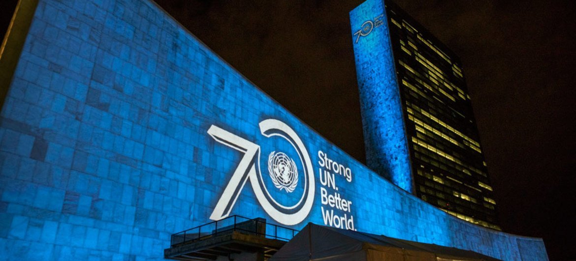 The Sustainable Development Goals is projected onto the façades of the UN Secretariat and General Assembly buildings which brings to life each of the 17 goals, to raise awareness about the 2030 Agenda for Sustainable Development.