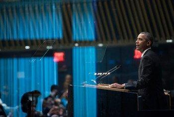 美国总统奥巴马在可持续发展首脑峰会发表演讲。联合国图片/Mark Garten