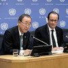 El Secretario General de la ONU, Ban Ki-moon (izq), en rueda de prensa con los presidentes de Francia, François Hollande, y de Perú, Ollanta Humala (dcha)   Foto: ONU/Evan Schneider