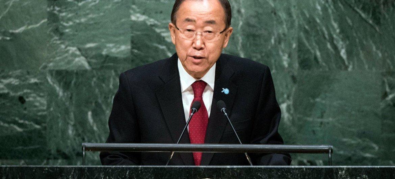 Le Secrétaire général Ban Ki-moon à l'ouverture du débat général de l'Assemblée générale en septembre 2015. Photo ONU/Cia Pak