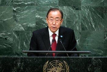 El Secretario General de la ONU, Ban Ki-moon en la apertura del debate general en la Asamblea  Foto. ONU//Cia Pak
