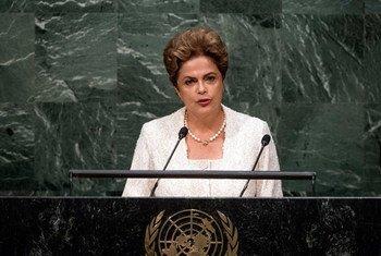 La presidenta de Brasil, Dilma Rousseff, en la Asamblea General de la ONU. Foto de archivo: ONU/Cia Pak