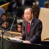 潘基文秘书长在联大发表讲话。联合国图片/Cia Pak