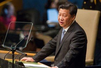 中国国家主席习近平在联大一般性辩论中发言。联合国/Loey Felipe