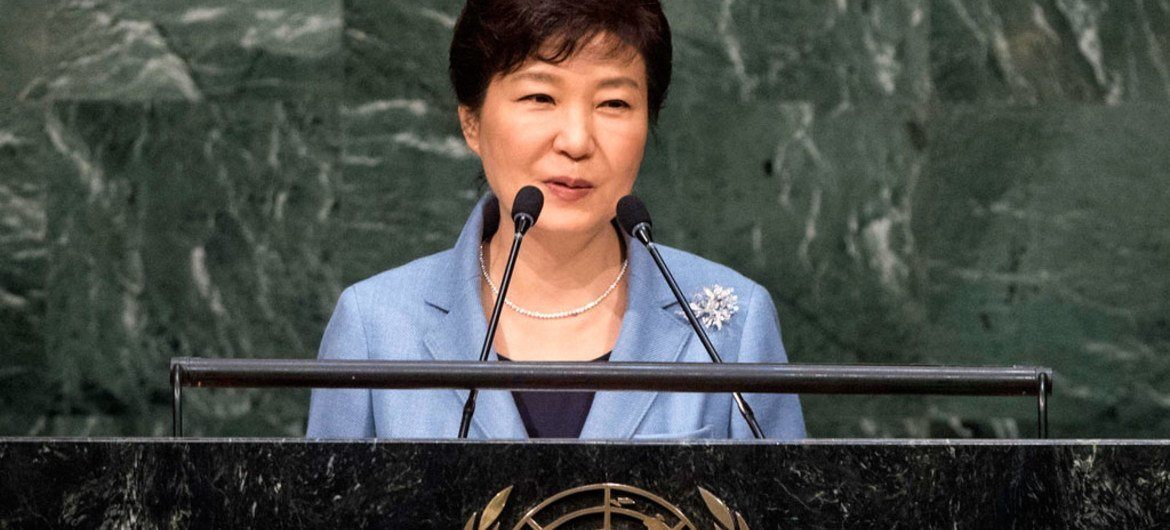 President Park of the Republic of Korea addresses the general debate of the General Assembly's seventieth session.