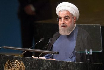 Le Président d'Iran Hassan Rouhani devant l'Assemblée générale. Photo ONU/Loey Felipe