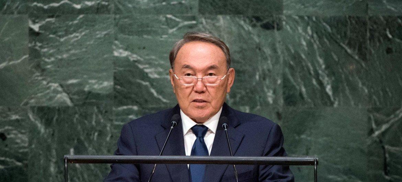 Президент Казахстана Нурсултан Назарбаев выступает с трибуны ООН в 2015 году.Фото ООН/Чиа Пак