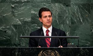 Enrique Peña Nieto, President of Mexico, addresses the general debate of the General Assembly's seventieth session.
