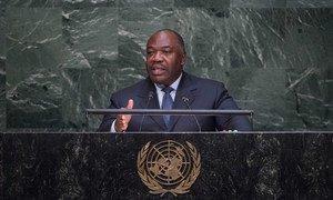 Le Président du Gabon Ali Bongo Ondimba devant l'Assemblée générale. Photo ONU/Amanda Voisard