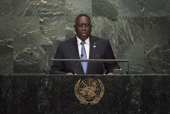 Le Président du Sénégal, Macky Sall, s'adresse à l'Assemblée générale de l'ONU, lors de son 70ème débat général. Photo : ONU/Kim Haughton