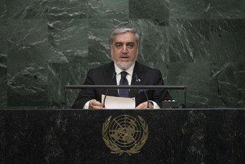 L'Exécutif en chef de l'Afghanistan, Abdullah Abdullah, devant l'Assemblée générale. Photo ONU/Kim Haughton